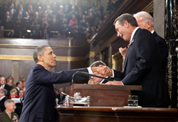 President Obama greets Speaker of the House John Boehner at the State of the Union address. Both Obama and Boehner will run for re-election in 2012.